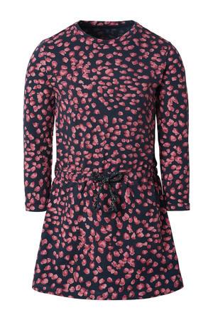 jurk Reitz met biologisch katoen donkerblauw/roze