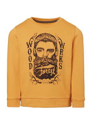 sweater Morton met grafische print okergeel/zwart