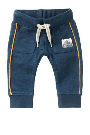 baby slim fit broek Kylemore van biologisch katoen donkerblauw/okergeel