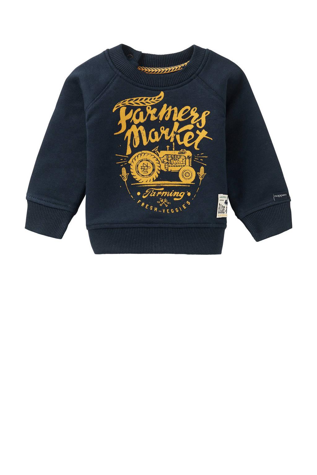 Noppies baby sweater Kei Road met tekst donkerblauw/geel, Donkerblauw/geel