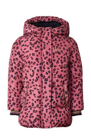gewatteerde winterjas Villiers met all over print roze/donkerblauw