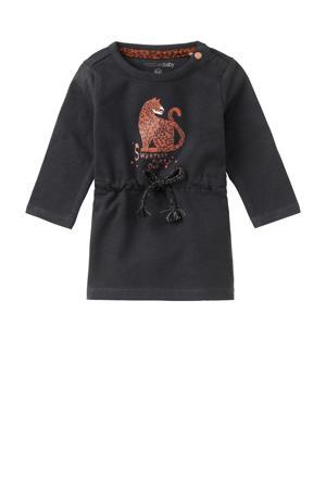 jurk Penge met biologisch katoen antraciet/donker oranje