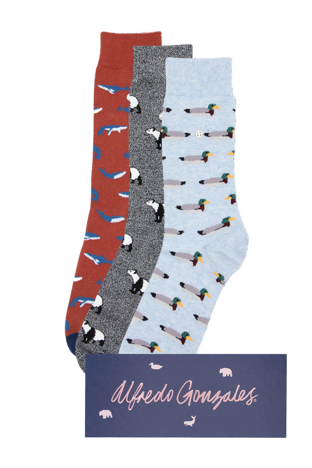 Alfredo Gonzales giftbox sokken - set van 3 met dierenprint, Blauw/multi