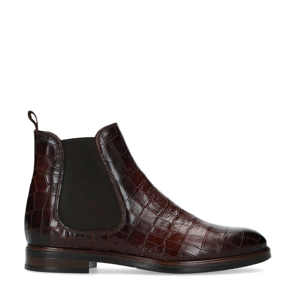 Manfield   leren chelsea boots crocoprint bruin, Bruin