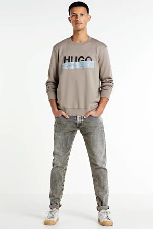 sweater met logo lichtbruin