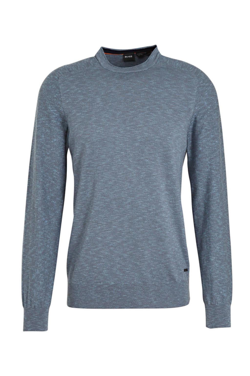 BOSS Casual gemêleerde fijngebreide trui grijsblauw, Grijsblauw