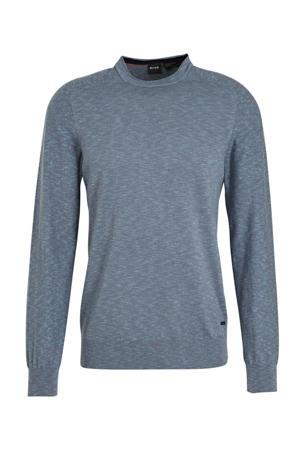 gemêleerde fijngebreide trui grijsblauw