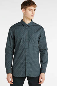 BOSS Casual slim fit overhemd met all over print donkergroen, Donkergroen