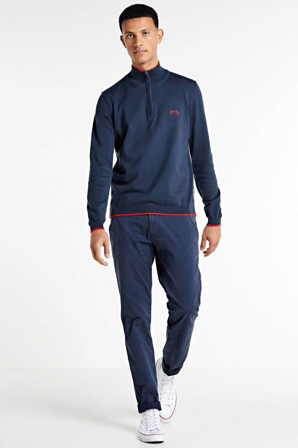 BOSS Athleisure Big & Tall trui donkerblauw/rood, Donkerblauw/rood