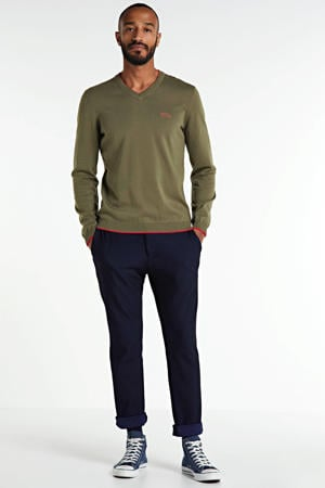 fijngebreide trui met contrastbies kaki