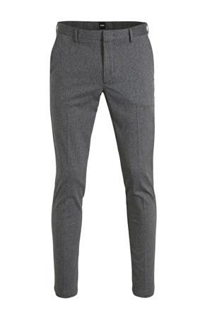 gemêleerde slim fit pantalon donkergrijs