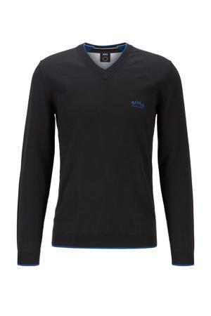 fijngebreide trui met contrastbies zwart