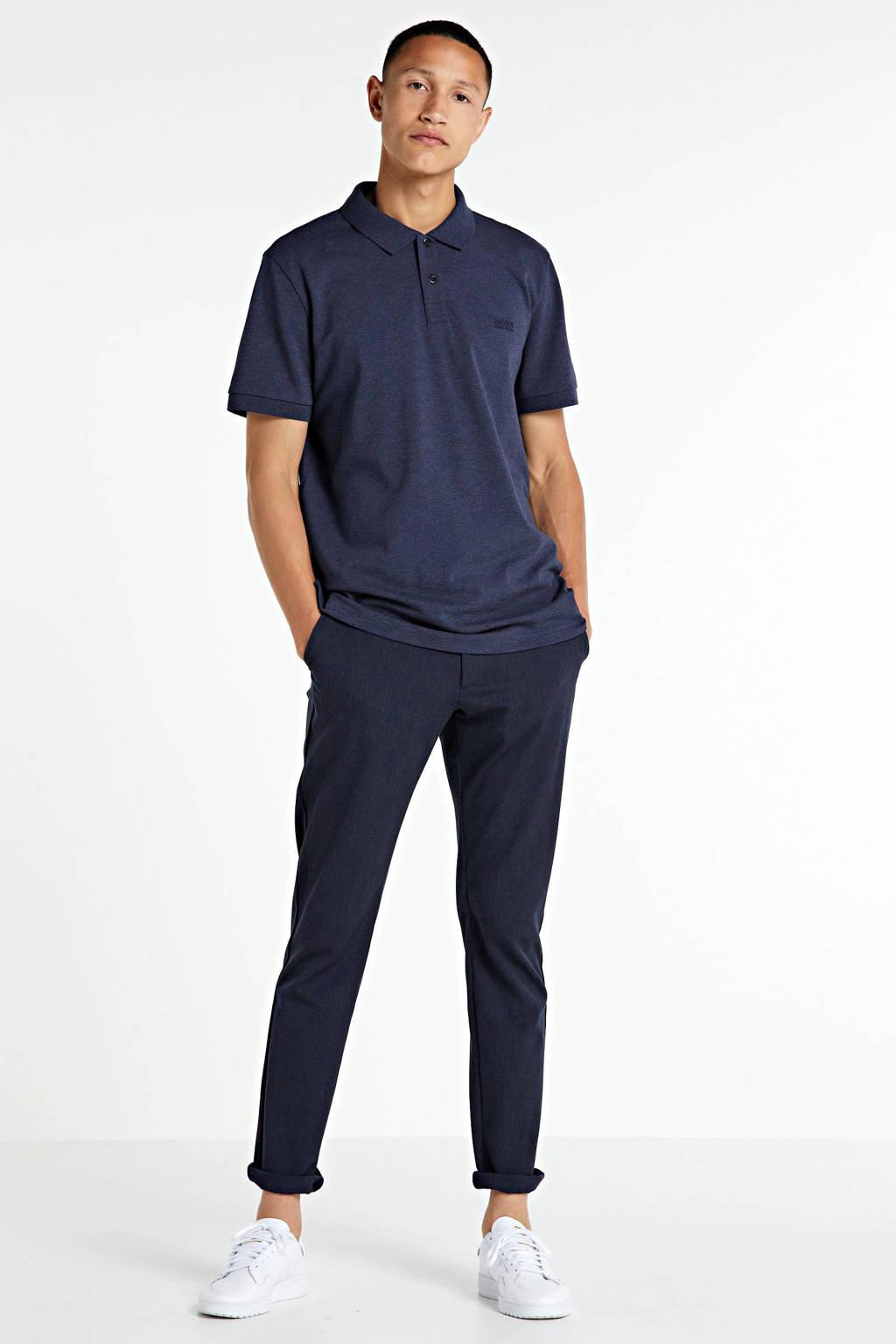 BOSS Athleisure Big & Tall regular fit polo donkerblauw, Donkerblauw