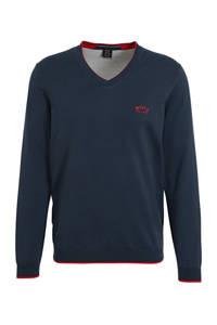 BOSS Athleisure Big & Tall fijngebreide trui met contrastbies donkerblauw, Donkerblauw