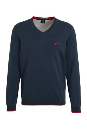 fijngebreide trui met contrastbies donkerblauw