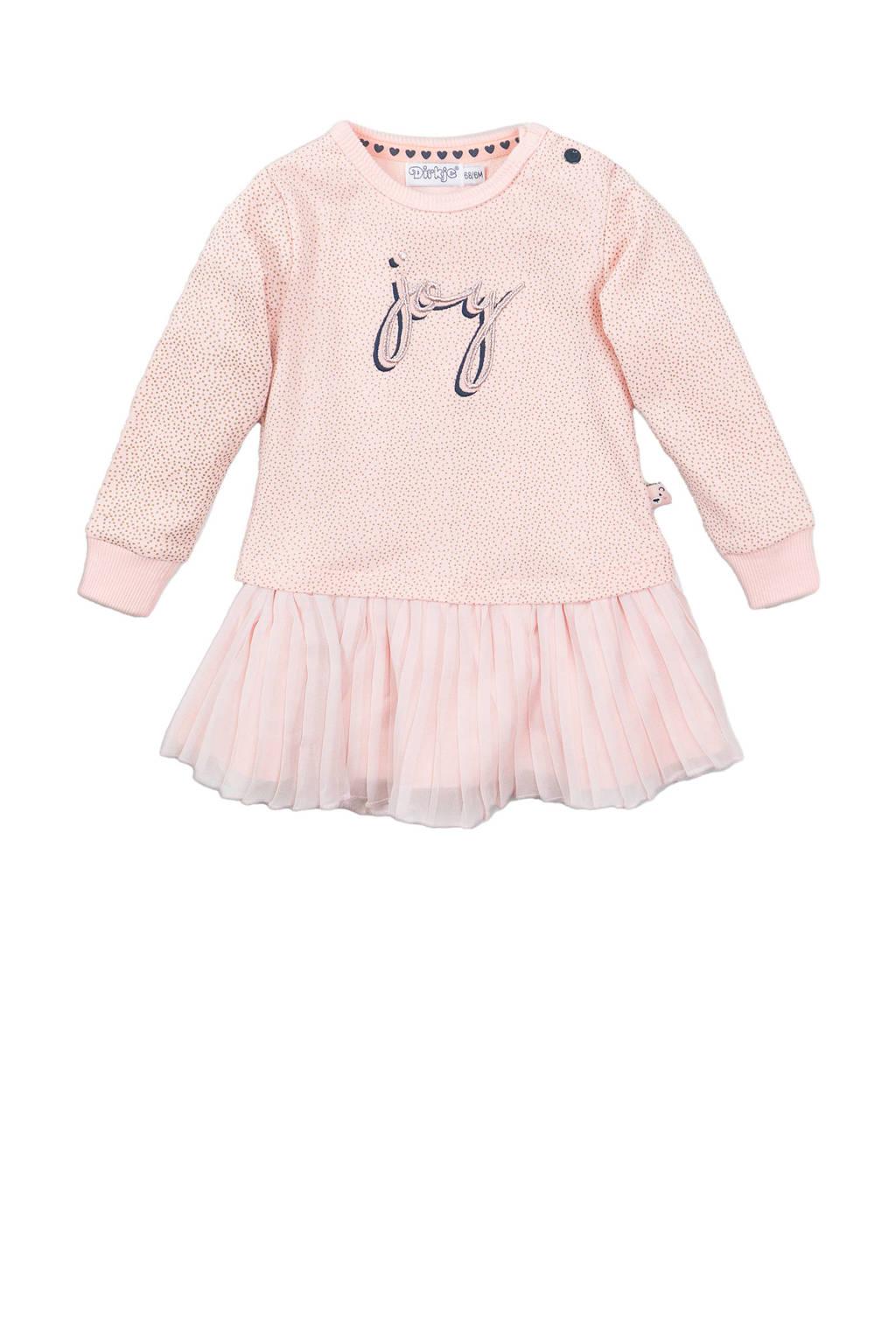 Dirkje jersey jurk met stippen roze, Roze