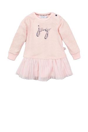 jersey jurk met stippen roze