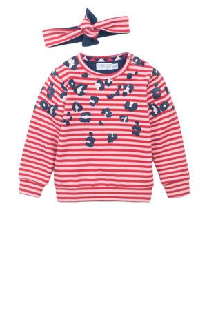 gestreepte sweater met bijpassende haarband rood/roze