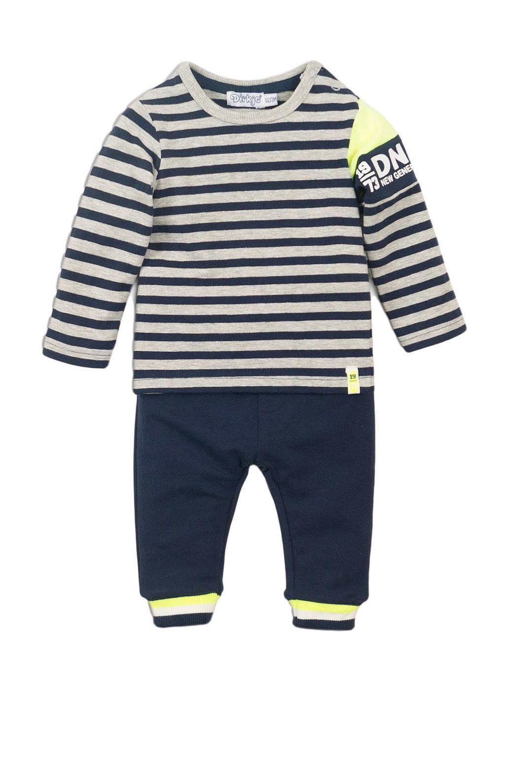 Dirkje Longsleeve + broek - set van 2 donkerblauw/grijs melange/neon geel, Donkerblauw/grijs melange/neon geel