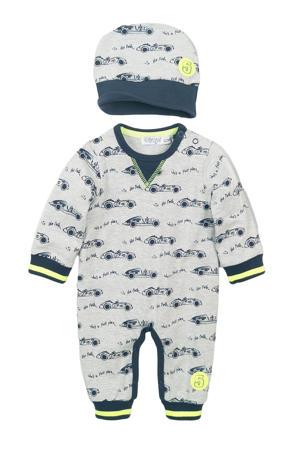baby boxpak met all over print wit/donkerblauw/grijs melange/neon geel