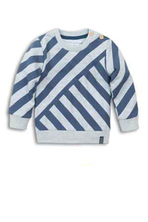 gestreepte sweater grijs melange/blauw