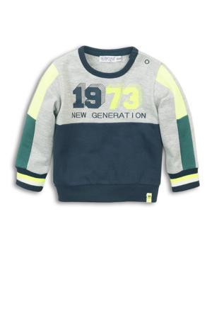 sweater grijs melange/donkerblauw/neon geel