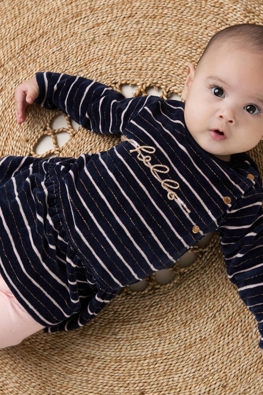 Dirkje jurk en legging - set van 2 donkerblauw/roze, Donkerblauw/roze