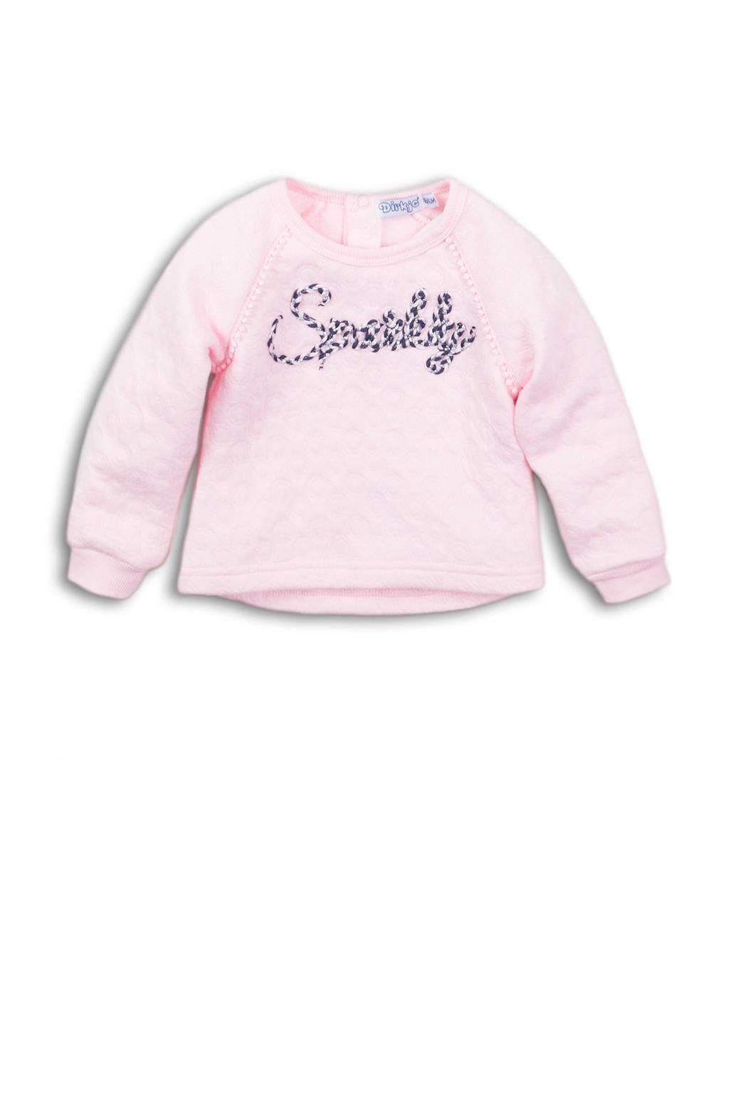Dirkje sweater met tekst roze, Roze