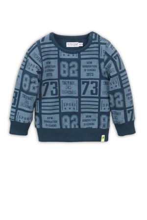 sweater met all over print blauw/donkerblauw