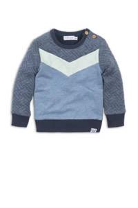 Dirkje sweater blauw melange/lichtgroen, Blauw melange/lichtgroen