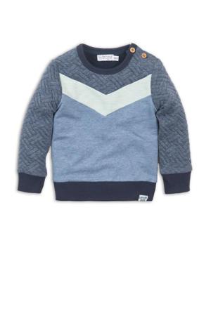 sweater blauw melange/lichtgroen
