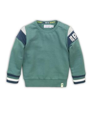 sweater groen/blauw/grijs melange