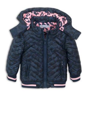 gewatteerde winterjas met all over print donkerblauw/zwart/roze