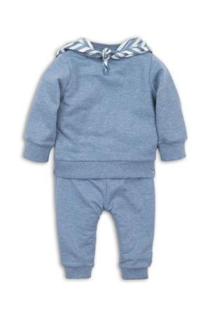 sweater + broek en sjaal - set van 3 blauw/grijs melange