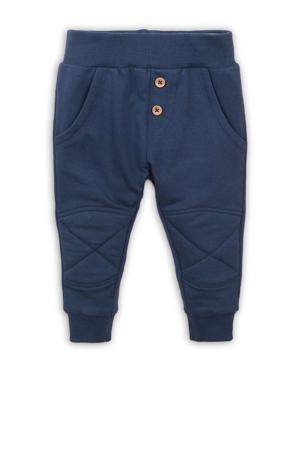 broek met textuur donkerblauw