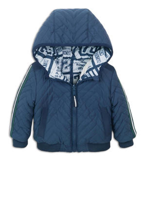 omkeerbare jasje met contrastbies donkerblauw/groen/wit