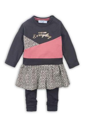 jurk + legging donkerbruin/oudroze