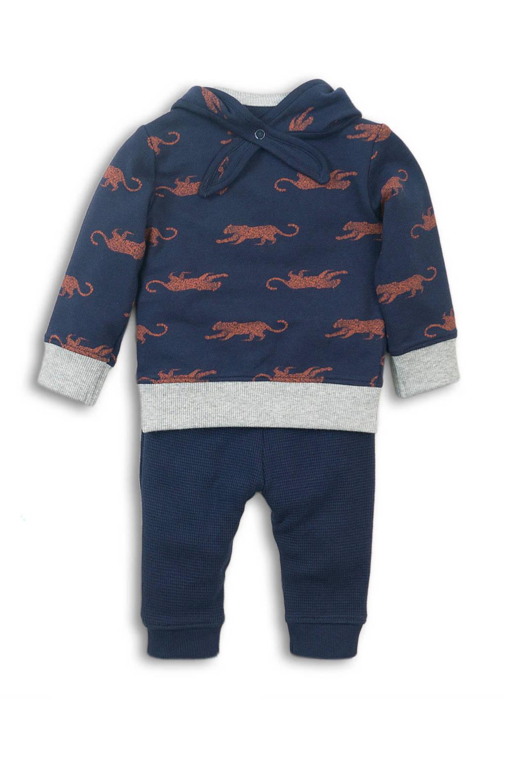 Dirkje sweater + broek en sjaal donkerblauw/grijs melange/bruin, Donkerblauw/grijs melange/bruin