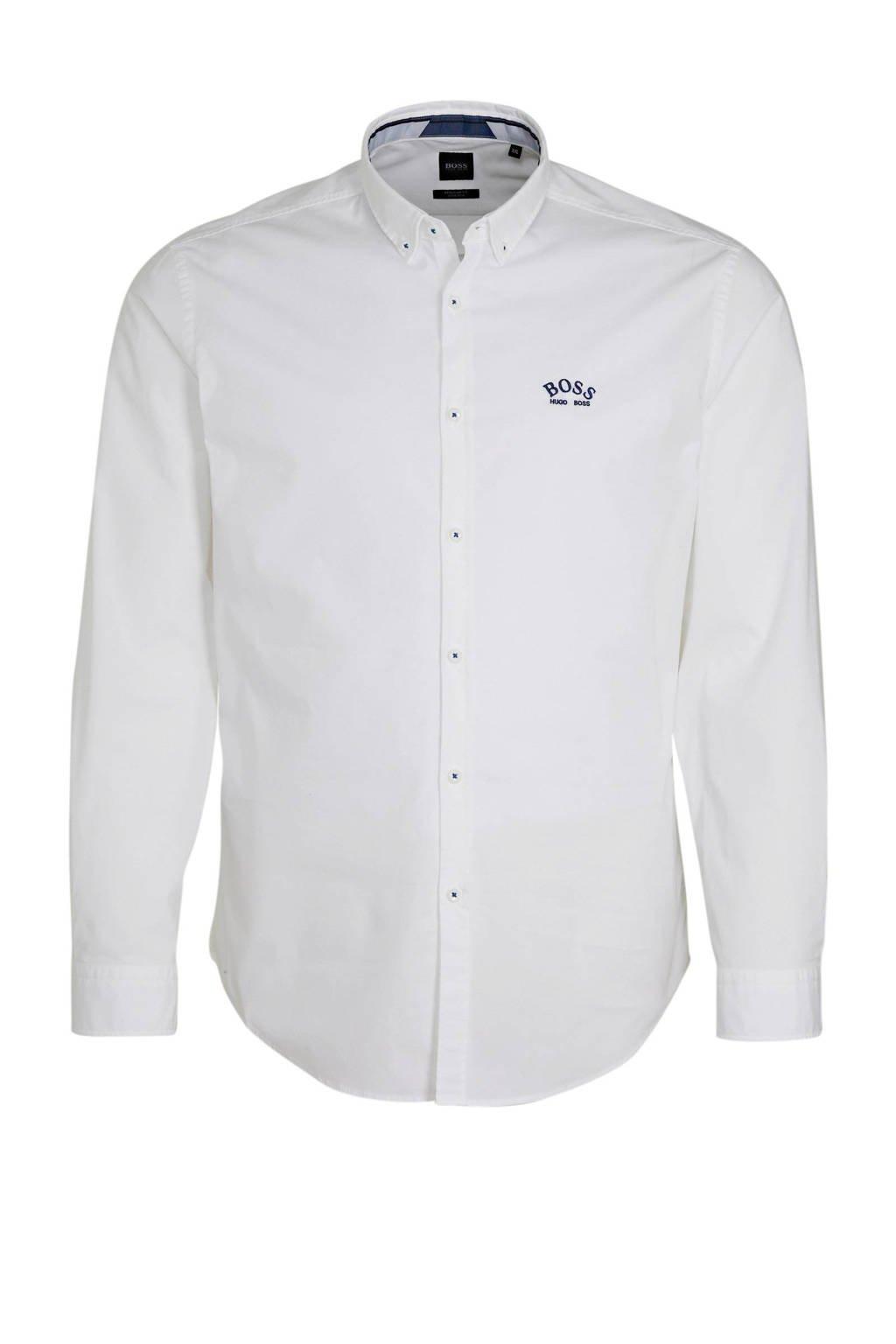 BOSS Athleisure Big & Tall regular fit overhemd wit, Wit