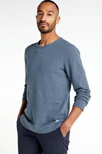BOSS Casual T-shirt met textuur grijsblauw, Grijsblauw