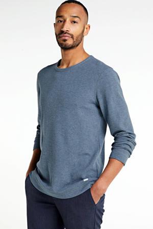 T-shirt met textuur grijsblauw