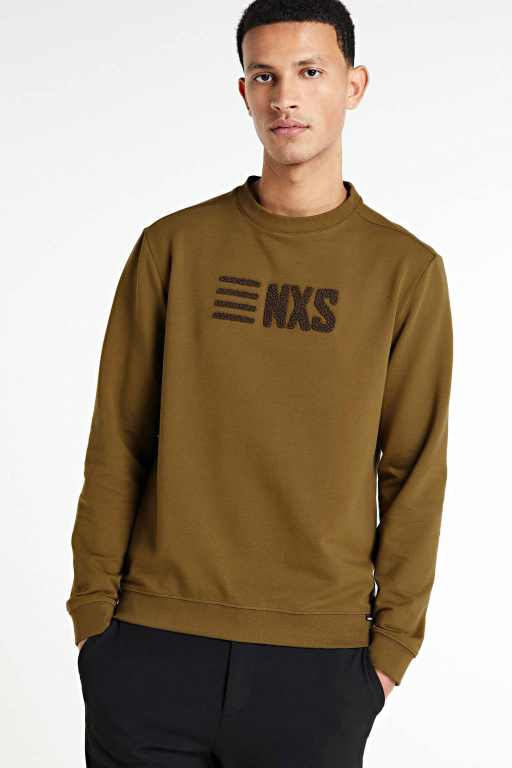 No Excess sweater met logo mosgroen, Mosgroen