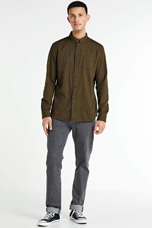 flanellen slim fit overhemd mosgroen