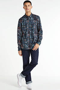 No Excess slim fit overhemd met all over print donkerblauw, Donkerblauw