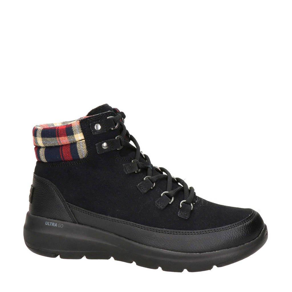 Skechers Go Walk  nubuck wandelschoenen zwart, Zwart