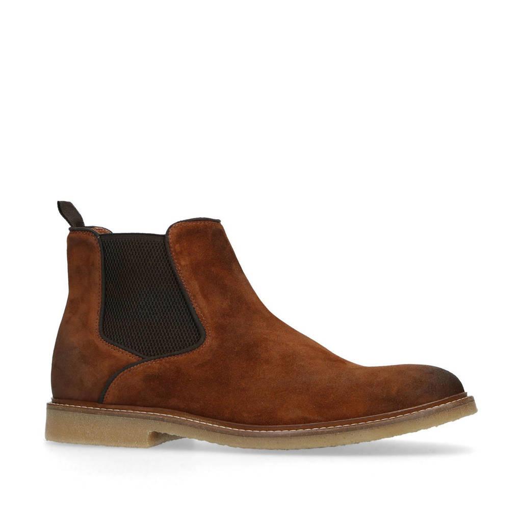 Manfield   suède chelsea boots cognac, Cognac
