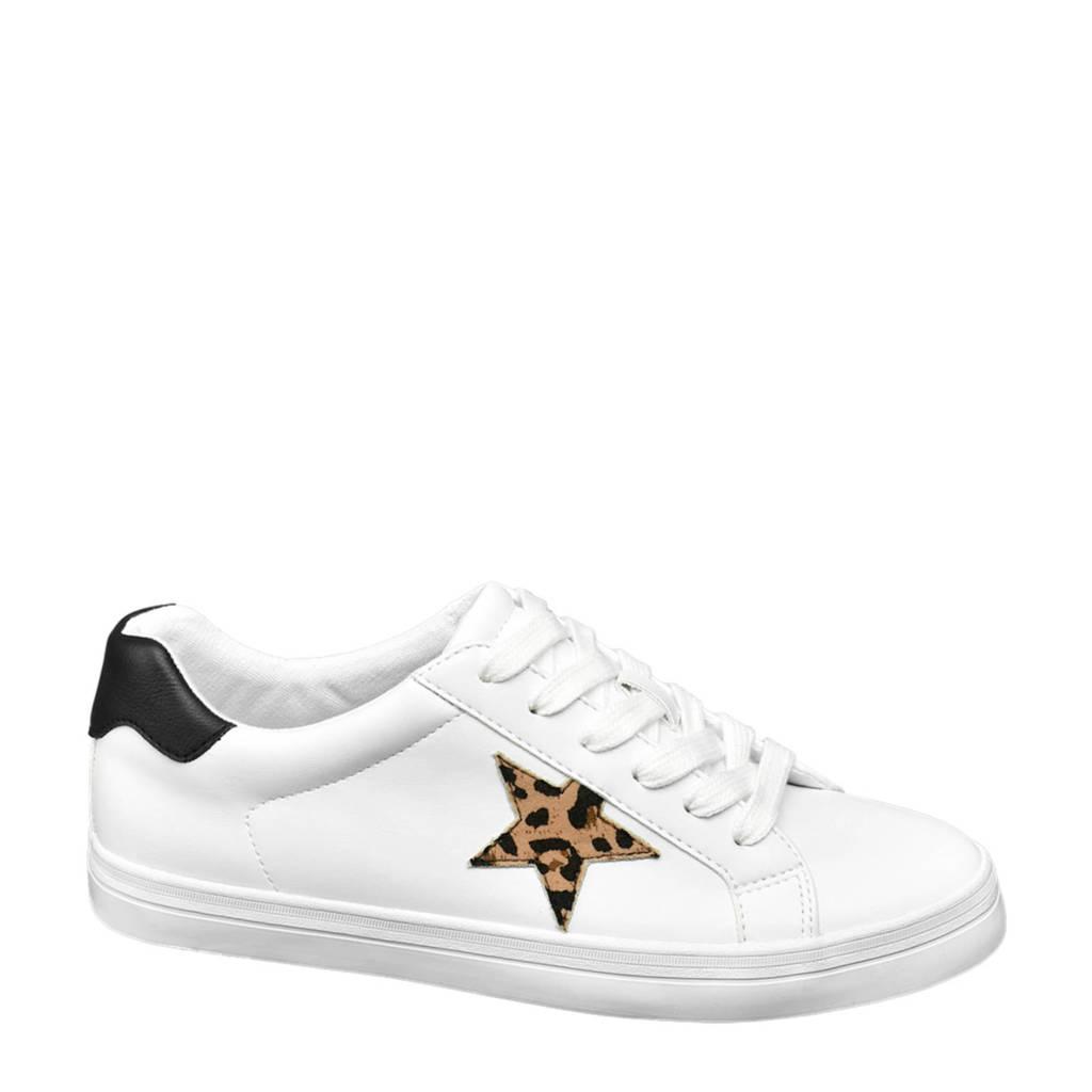 Graceland   sneakers met panterprint wit, Wit/zwart