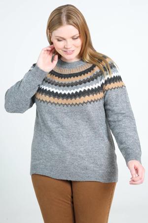 gebreide trui met printopdruk en glitters grijs/zwart/beige