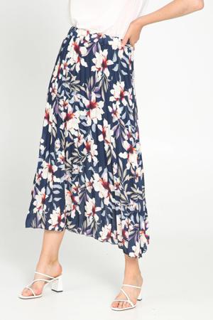 gebloemde rok blauw