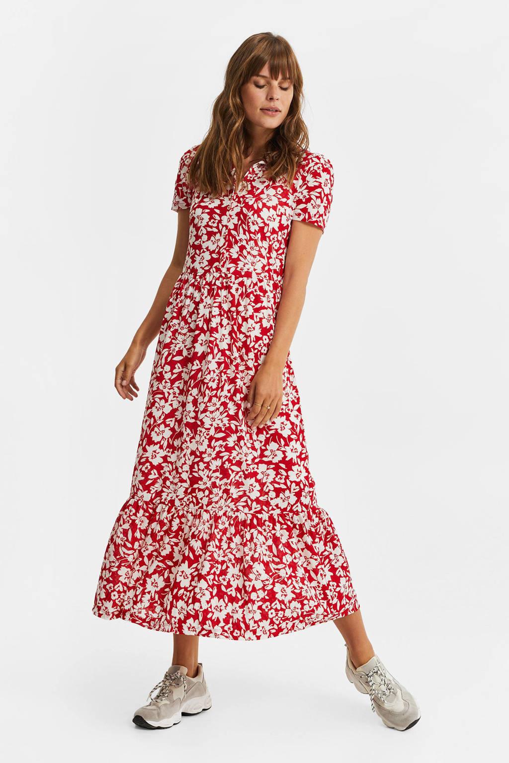 WE Fashion gebloemde maxi jurk rood/wit, Rood/wit